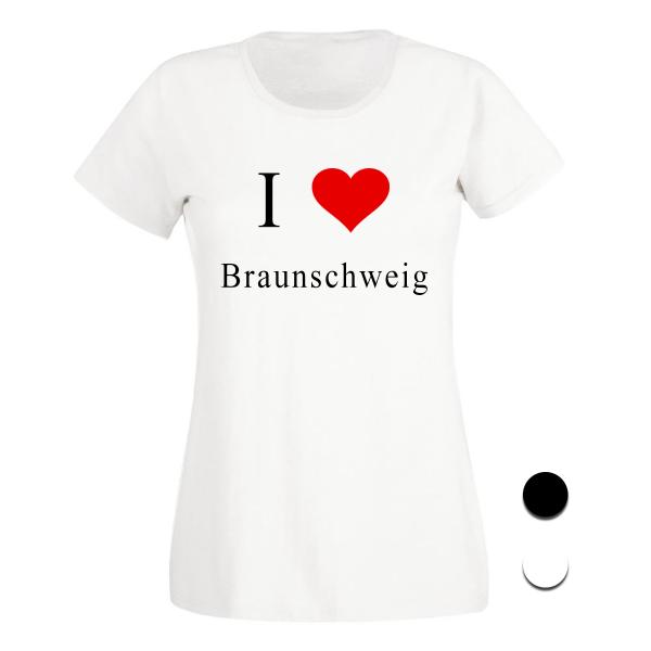 T-Shirt I Love Braunschweig (Schwarz/Weiß)