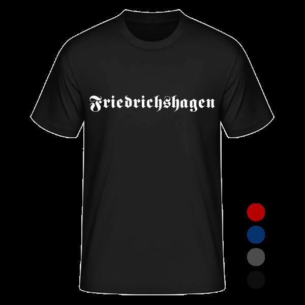 """Unisex T-Shirt Altdeutsch """"Friedrichshagen"""" in den Farben schwarz, rot, blau und anthrazit"""