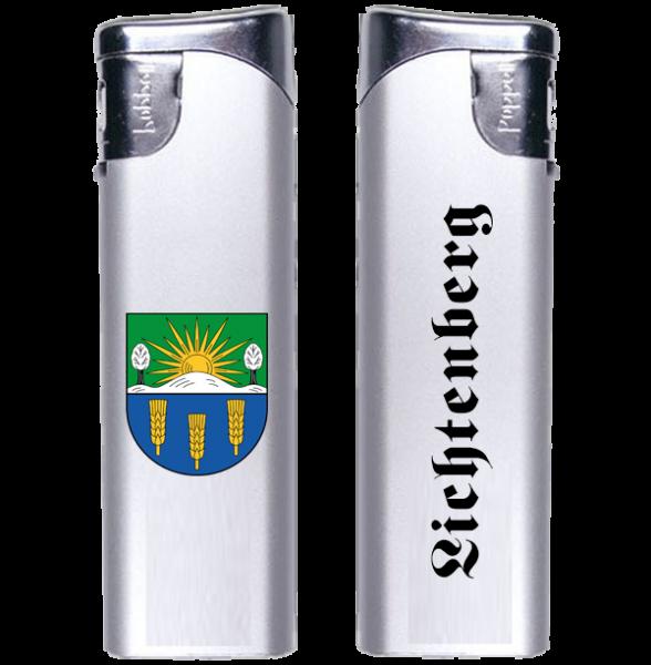 Feuerzeug Lichtenberg 2-seitig Wappen und Schriftzug altdeutsch