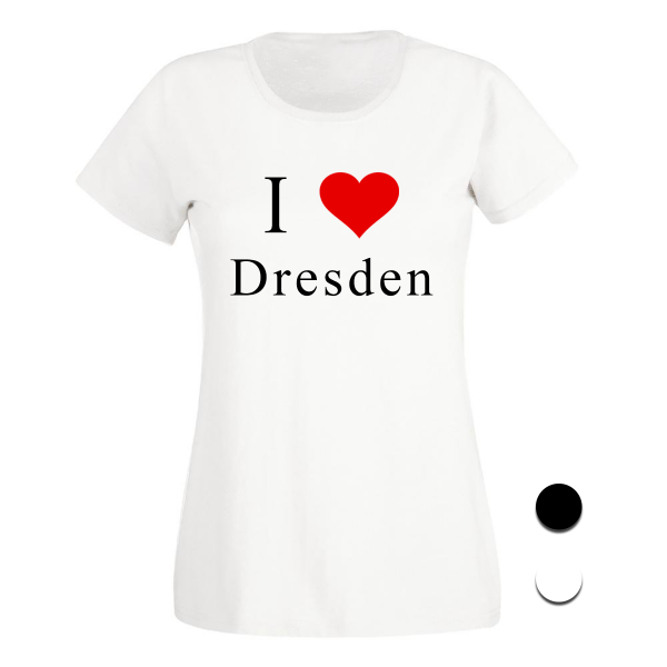 T-Shirt I Love Dresden (Schwarz/Weiß)