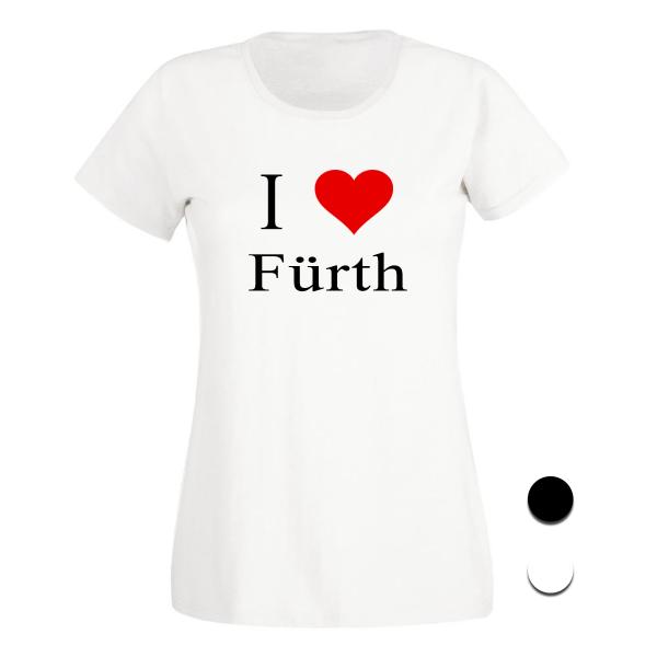 T-Shirt I Love Fürth (Schwarz/Weiß)