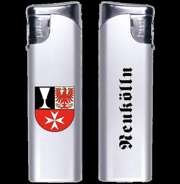 Feuerzeug Neukölln 2-seitig Wappen und Schriftzug altdeutsch
