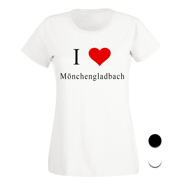 T-Shirt I Love Mönchengladbach (Schwarz/Weiß)