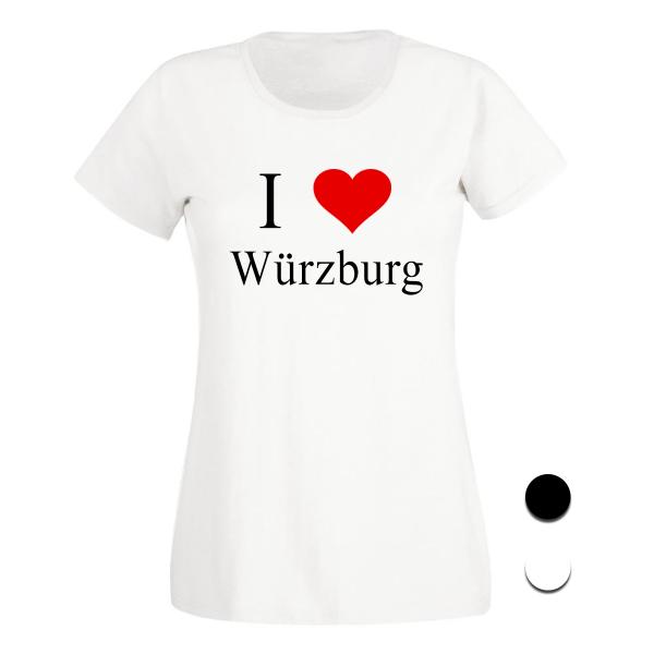 T-Shirt I Love Würzburg (Schwarz/Weiß)