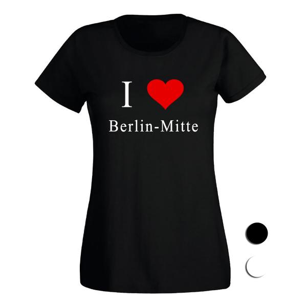 dein-kiez.de T-Shirt I love Mitte(schwarz/weiß)