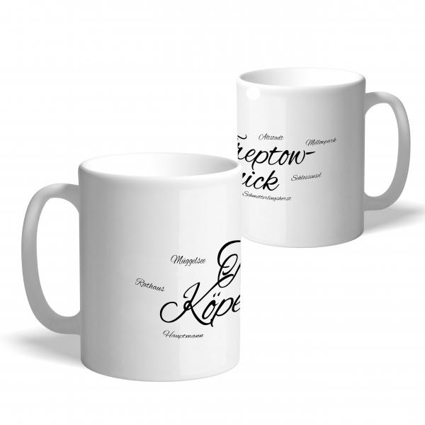 """Kaffeetasse in Weiß mit stylischem Schriftzug """"Treptow-Köpenick"""""""