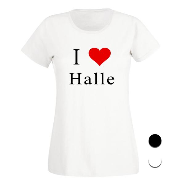 T-Shirt I Love Halle (Schwarz/Weiß)