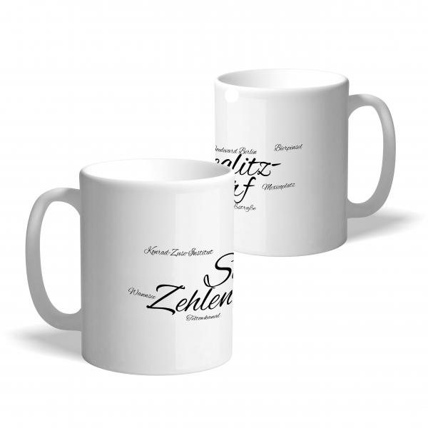 """Kaffeetasse in Weiß mit stylischem Schriftzug """"Steglitz-Zehlendorf"""""""