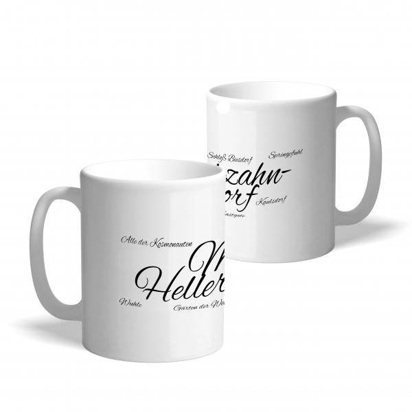 """Kaffeetasse in Weiß mit Schriftzug """"Marzahn-Hellersdorf"""""""