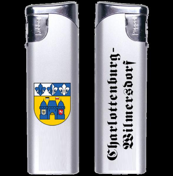 Feuerzeug Charlottenburg-Wilmersdorf 2-seitig Wappen und Schriftzug altdeutsch