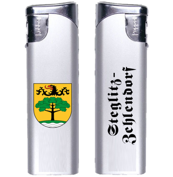 Feuerzeug Steglitz-Zehlendorf 2-seitig Wappen und Schriftzug altdeutsch