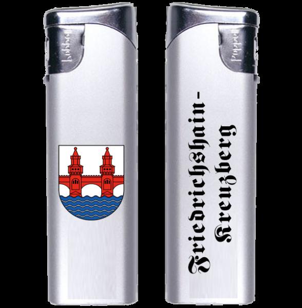 Feuerzeug Friedrichshain-Kreuzberg 2-seitig Wappen und Schriftzug altdeutsch