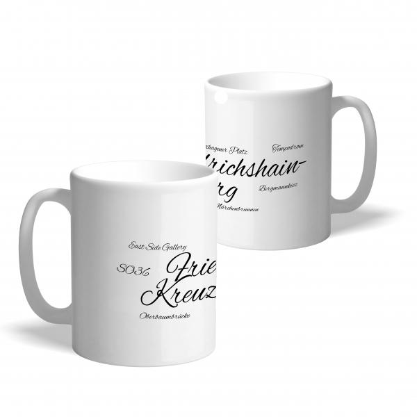 "Kaffeetasse mit aufgedrucktem Schriftzug ""Friedrichshain-Kreuzberg"""