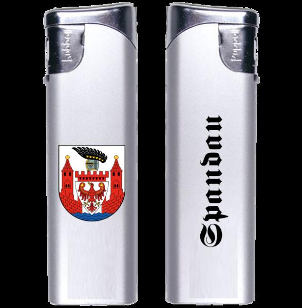 Feuerzeug Spandau 2-seitig Wappen und Schriftzug altdeutsch