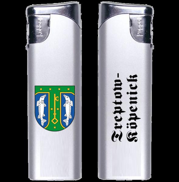 Feuerzeug Treptow-Köpenick 2-seitig Wappen und Schriftzug altdeutsch