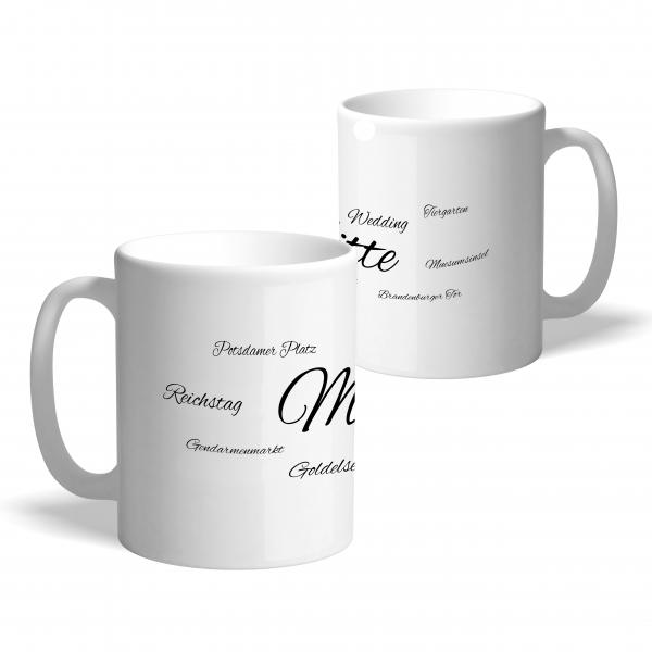 """Kaffeetasse aus Porzellan mit Schriftzug """"Mitte"""""""