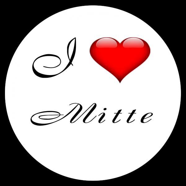 Aufkleber - I love Mitte (Rund)