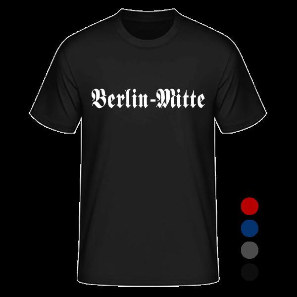 """Unisex T-Shirt Altdeutsch """"Berlin-Mitte"""" in den Farben schwarz, rot, blau und anthrazit"""